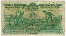 Currency Commission Consolidated Banknote 'Ploughman' Munster & Leinster Bank One Pound 6-5-29
