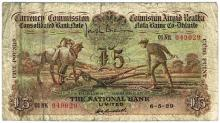 Currency Commission Consolidated Banknote 'Ploughman' National Bank Five Pounds 6-5-29