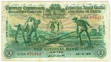 Currency Commission Consolidated Banknote 'Ploughman' National Bank One Pound 14-2-35