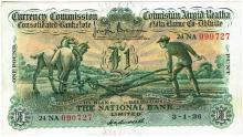 Currency Commission Consolidated Banknote 'Ploughman' National Bank One Pound 3-1-36