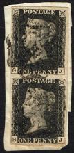 Great Britain. 1840 1d black vertical pair, single and 2d blue, used on pieces.
