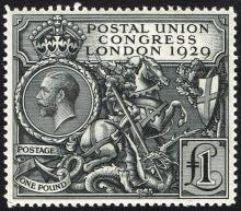 Great Britain. 1929 Universal Postal Union Congress £1 black.