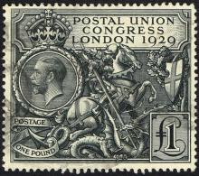 Great Britain. 1929 Ninth Universal Postal Union Congress £1 black used.
