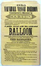 Ballooning. Royal Vauxhall Nassau Balloon, poster.