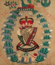 Edwardian needlework panel depicting the badge of the Royal Irish Rifles