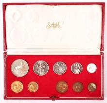 South Africa. 1975 proof set including gold 1 rand and 2 rand.