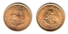 South Africa. Gold two rand, 1965 and 1968.