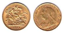 GB. Gold half sovereigns 1896 and 1903 and South Africa gold half pond 1895.
