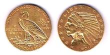 USA. Gold five dollars, Indian head, 1909.