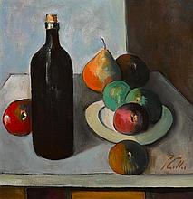 Peter Collis RHA (1929-2012) STILL LIFE WITH FRUIT AND BOTTLE
