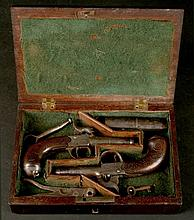 A pair of 19thC Parkes percussion pistols
