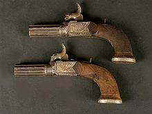 A pair of 19thC Blissett percussion pistols