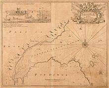 18th century sea charts, Captain Greville Collins, seven charts from his