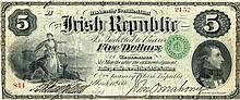 1866 (March 17) Irish Republic Five Dollars Bond issued by the Fenians in America.
