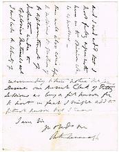 1877. Limbless MP - Sir Arthur MacMorrough Kavanagh letter