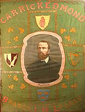 1880s Irish National League marching banner featuring portrait of Charles Stewart Parnell for Carrickedmond Branch, Co. Longford