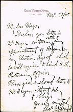 1885 (22 November) letter handwritten by Charles Stewart Parnell.