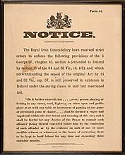 Mid-19th century Royal Irish Constabulary notice to 'Rogues and Vagabonds'