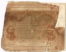 1916 leader, James Connolly Scottish Labour Party membership card, 1892.