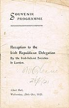 1921 (26 October) Reception to the Irish Republican Delegation, London, signed by Michael Collins.
