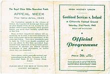1945, 31 March. Combined Services v Ireland hockey match programme