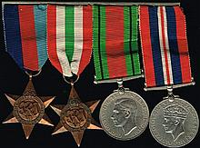 1939-45 Star, Italy Star, Defence Medal, and War Medal with 1944 silver cigarette case.