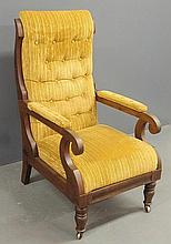 Carved walnut Boston lolling chair, c.1840. 42