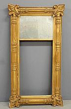 Large carved gilt Empire mirror with fleurs-de-lis corners. As found. 54