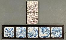 Framed group of five 18th c. blue and white Dutch tiles with biblical scenes, overall 6