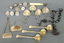 Group of early silver tableware and accessories TI 3 English salt spoons 3.5
