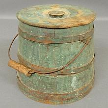 Shaker firkin in original green paint, early 19th c., with metal banding. 10.5