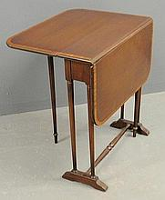 Small inlaid mahogany drop-leaf end table by Ferguson Brothers. 24.5
