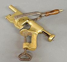 Large brass corkscrew, 19th c., with iron and wood handle, probably from a pub or tavern. 14.5