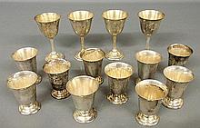 Set of ten sterling silver cups 3