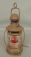 Brass ship's lantern with Fresnel glass by Perkins, Brooklyn, NY, electrified. To top of lamp 15.5