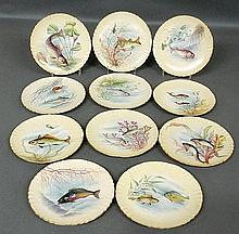 Set of eleven colorful Victorian fish plates, some with species identification and dated verso- i.e. Sea Bass 1890. Each 8.5