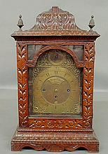 Large 18th c. English bracket clock with brass dial signed