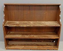 Primitive pine bucket bench with scalloped ends. 39