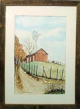 Framed and matted watercolor painting of Amity Farms, signed l.l.