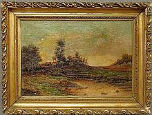 Oil on canvas Continental sunset landscape painting, late 19th c. Site-19.5