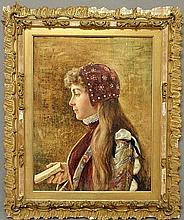 Tomba, Casimiro [Italy, 1857-1929] watercolor portrait of a young Italian girl holding a book, signed u.r.