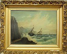 Oil on board seascape painting, late 19th c., of ships sailing along a rocky shoreline in heavy seas, unsigned. Site- 14.5'x19