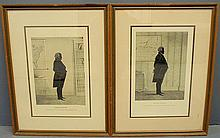 Two framed and matted lithograph silhouettes of DeWitt Clinton and Daniel Webster by E.B. & E.C. Kellogg. Site- 17.5
