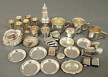 Group of sterling silver tableware and accessories TI baby cups, nut dishes matchbox covers, etc. 36 troy oz.