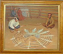 Oil on canvas painting of American Indians making a floor painting, and mounted in a maple frame. Site- 24.5