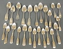 Twenty-four coin silver spoons by various makers including I. Owen, A.R. Thompson, H.E. Hoyt, Huray, etc., largest 9.5