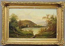 Oil on canvas laid down on board landscape painting of a Hudson River scene, 19thc., with sailboat and church on the far bank. Site- 13