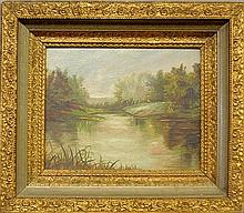 Oil on board landscape painting, late 19th c., of a spring river scene, unsigned. Site- 7.75