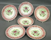 Set of six spatterware soup plates, 19th c. 9.25