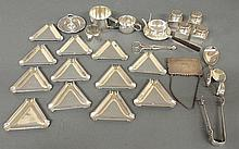 Group of sterling silver table articles TI ashtrays, sugar tongs, baby cups & spoons, etc. 31 troy oz.
